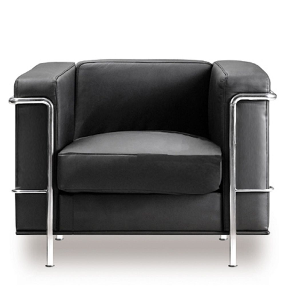 Belmont Cubed Leather Faced Reception Armchair Black Eliza Tinsley